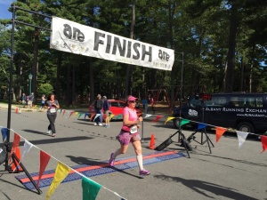 Crossing the Maddie's Mark 5k finish line