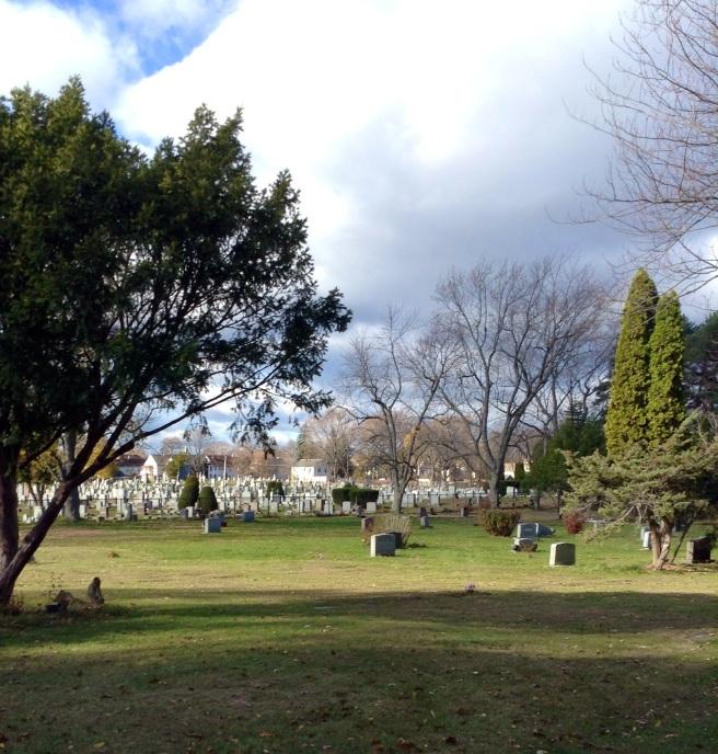 Downhill through cemetery